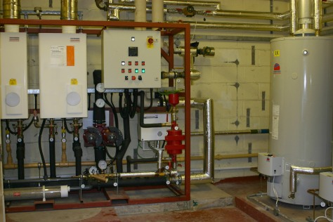 An example of space heating provided by Potterton Commercial and direct-fired water heating provided by Andrews