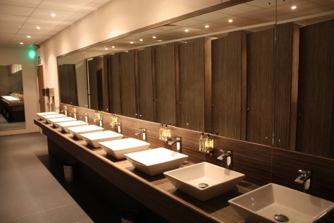 James Latham's Washroom Solutions range includes moisture resistant melamine faced chipboard as well as a range of matching compact grade laminate