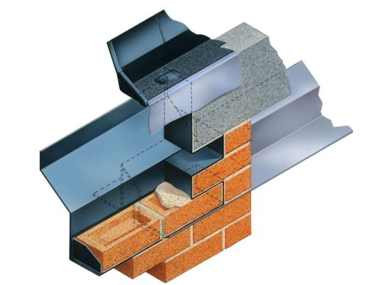 Type BWVC Bay Window Vertical Cavitray links lintel with the higher level roof DPC/tray and prevents damp horizontal transference between the two.