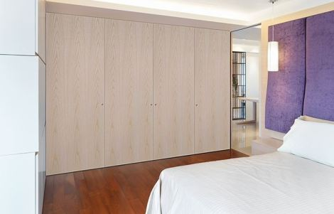 Bedroom featuring Vicaima Pastel Cream stained Ash wardrobe doors